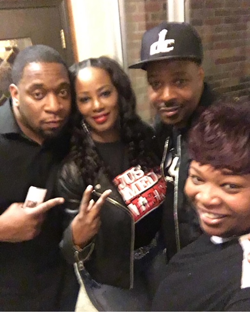 Tunya Griffin and Char B with comedians John Phillips and Eddie Bryan